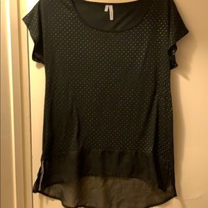 Black sheer bottom and silvery dot design top